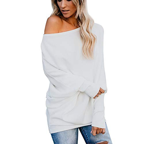 TWGONE Sweater Dresses For Women Off Shoulder Cotton Pure Color Tunic Top T Shirt Ladies Long Sleeve Blouse(Small,White)