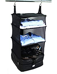 Stow-N-Go Portable Luggage System - Small - Black, Packable Hanging Shelves and Travel Organizer