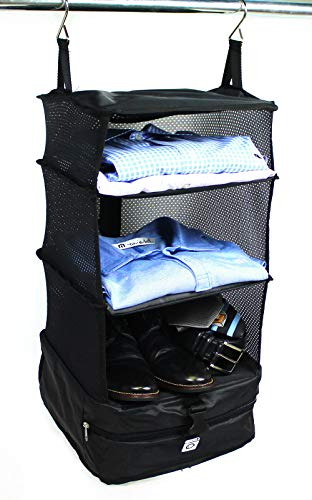 Stow Bag - Stow-N-Go Portable Luggage System Suitcase Organizer - Small, Packable Hanging Travel Shelves & Packing Cube Organizer