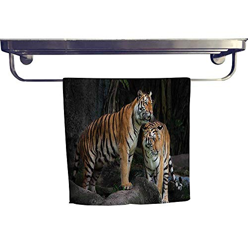 (HoBeauty home Beach Towel,Tiger Couple in The Jungle on Big Rocks Image Wild Cats in Nature,Super Soft & Absorbent Fade Resistant Cotton Terry Towel W 20
