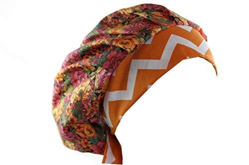 Scrub Hat Chemo Cap Bouffant (Orange Pink Floral) - Orange Scrub Cap
