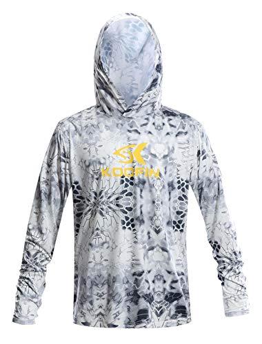 Performance Fishing Hoodie Long Sleeve Hooded Sunblock Shirt UPF 50 Dry Fit Quick-Dry Hoody Sports Sweatshirt Grey (Hooded Long Sleeve Hat)
