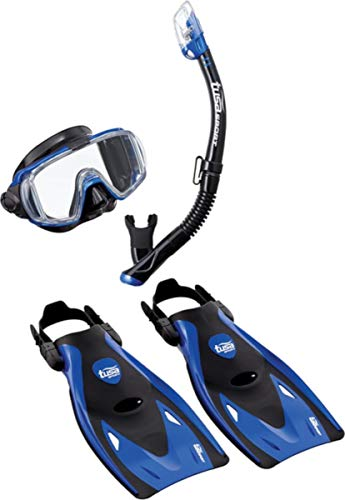 TUSA Sport Adult Black Series Visio Tri-Ex Mask, Dry Snorkel, and Fins Travel...