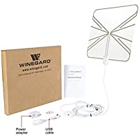 Winegard FL-55CR Flatware Amplified Thin Free HDTV High-Definition TV Programming Content Indoor Antenna with 60 miles VHF and UHF signal Range (Certified Refurbished)