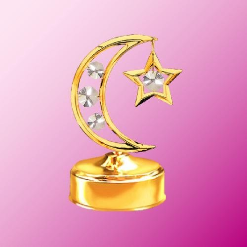 Twins Star Clear Crystal (24K Gold Plated Moon & Star Music Box.... With Clear Austrian Crystals)
