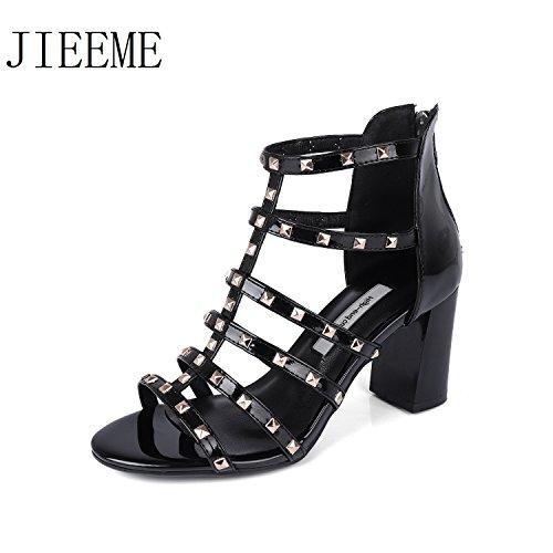 JIEEME Ladies Sexy Patent Leather Zipper Rivets Women Sandals High Heels Stiletto Shoes Women Black N52tCr