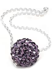 """.925 Sterling Silver Purple Crystals Ball Pendant Necklace,18"""""""