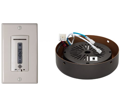 Monte Carlo MCRC4RRB Ceiling Fan Hard-Wired Wall Remote Control, White/Almond Switch Plates and Roman Bronze Receiver Hub, Image