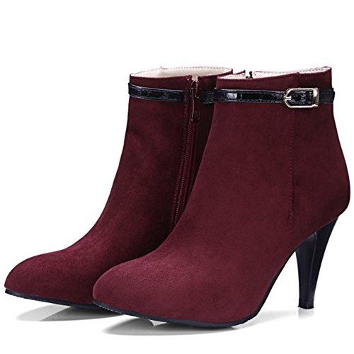 COOLCEPT Women Zipper Bootie Boots Wine Red P8o7hHYZw7