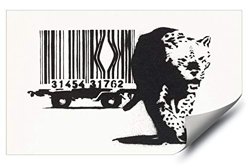 Art Wall Cage (Banksy Street Graffiti Escaped Leopard Barcode Cage HD Vinyl Wall Art Poster Decal Sticker)