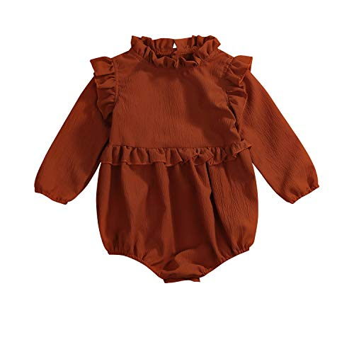 YOUNGER TREE Toddler Baby Summer Clothes Girl Ruffled Collar Sleeveless Romper Jumpsuit Clothes (Brown#Long Sleeve, 100(18-24 Months))
