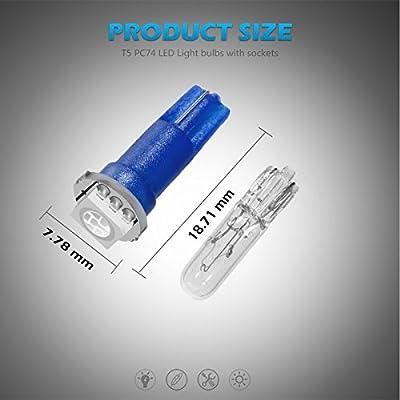 Partsam T5 73 74 Instrument Panel Gauge Cluster Dashboard LED Light Bulbs with Twist Sockets-6Pcs Blue: Automotive