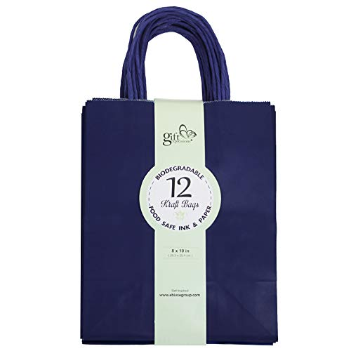 12CT MEDIUM NAVY BIODEGRADABLE, FOOD SAFE INK & PAPER, PREMIUM QUALITY PAPER (STURDY & THICKER), KRAFT BAG WITH COLORED STURDY HANDLE (Medium, Navy) ()