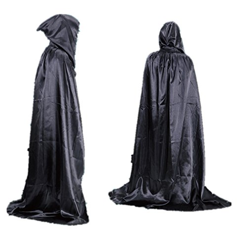 STARKMA Unisex Full Length Hooded Cape Costume Cloak Devil Witch Wizard Magician Cosplay Cape (110cm (Suitable Height 130cm), Black)]()