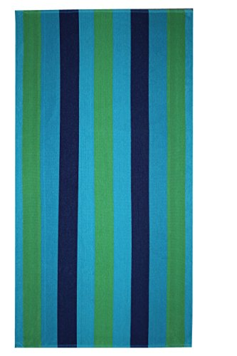 Cotton Craft 2 Pack Terry Beach Towel 30x60 - Cabana Stripe Navy Green Turquoise - 400 GSM - 100% Pure Ringspun Cotton - Brilliant intense vibrant colors - Highly absorbent easy care machine wash - Beach Towel Craft