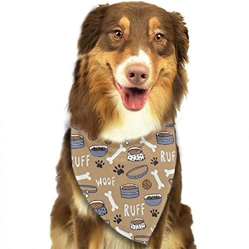 FRTSFLEE Dog Bandana New Cute Dog Bone Bowl Woof Paw Print Scarves Accessories Decoration for Pet Cats and Puppies -