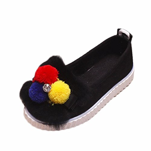 JIANGFU Kinder Kind Mädchen Fashion Hairball Solid Crystal Warm Sneaker Schuhe, Kinder Mädchen plus Samt Schuhe Skid Wolle Diamant warme Student Schuhe Black