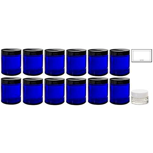 Cobalt Blue Glass Straight Sided Jar - 4 oz / 120 ml (12 Pack) + Labels + Small Glass Balm Jar - Airtight, Smell Proof, BPA Free