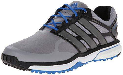 adidas Men's Adipower S Boost-M, Light Onix/Dark Silver Metallic/Bahia Blue 9.5 M - Shoes Golf Boost Adidas