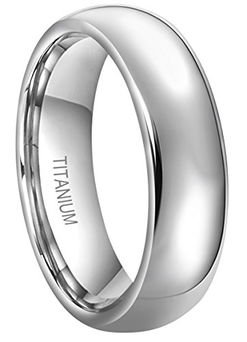 RoyalKay 4mm 6mm 8mm Titanium Wedding Band Ring Men Women Plain Dome Rounded High Polished Comfort Fit Size 4 To 16 (6mm,12)