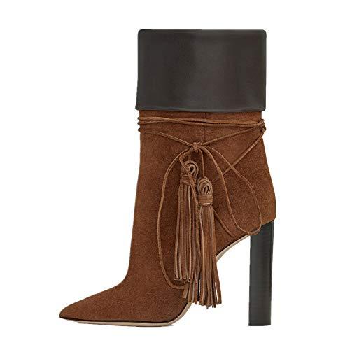 Damen Stiefel Samt QQBoots Schnürschuh Schwarz Wildleder Troddel Stiefel Frauen Klobig Knöchel Ferse Braun Für Abend Hoch Block EHTnTdw