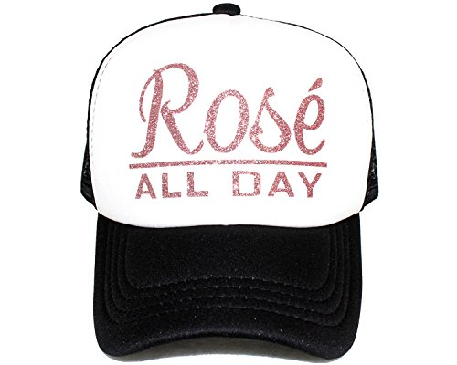 Rose Trucker Hat - High Limit Rosé All Day Rose Gold/White Trucker Hat with Rose Gold Glitter Lettering Accessories