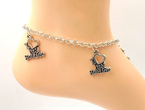 I Love My Soldier  Anklet Stainless Steel Ankle Bracelet Sizes 8 11 Wife Spouse Bff Gf Mother Partner
