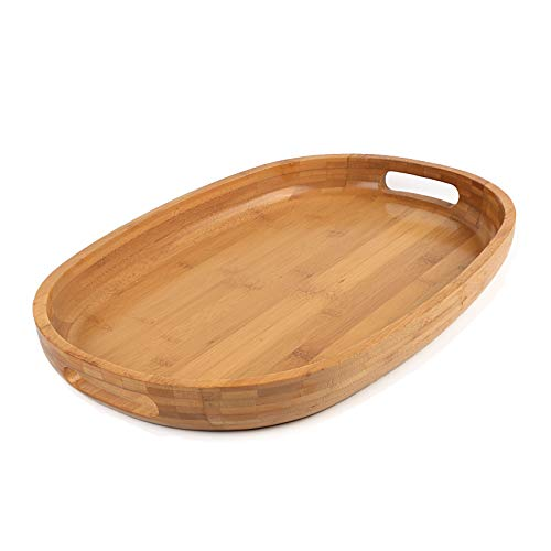 Oval Decorative Tray - Bamboo Wood Serving Tray with Handles - Rustic Breakfast Tray Ottoman Tray Decorative Oval Butler Tray for Food, Coffee and Tea - 17
