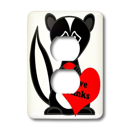 3dRose lsp_13799_6 Love Stinks Cute Cartoon Skunk 2 Plug Outlet Cover
