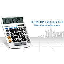 Calculator,Desktop with 12 Digits Large Display Electronic Calculator Solar and Button Battery Dual Power Standard Function