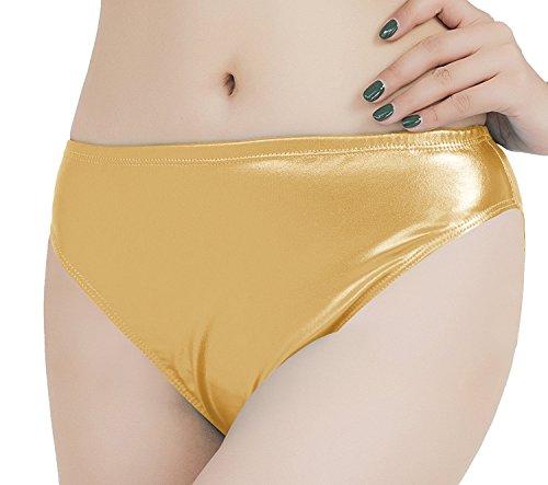 speerise Adult Shiny Metallic Dance Panty Underwear Performance Briefs, Gold, - Metallic Panties