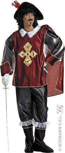 Mens Musketeer Burg/blk Costume Extra Large Uk 46