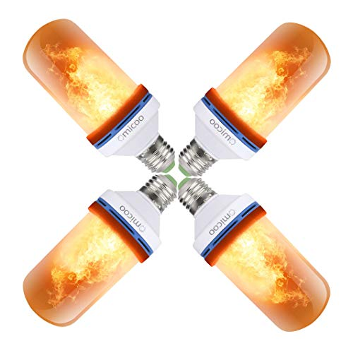 Omicoo 4 Pack LED Flame Effect Fire Light Bulbs E26 E27 4 Modes with Upside Down Effect Simulated Decorative Light Atmosphere Lighting Vintage Flaming by Fuxury