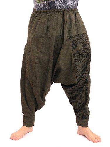 jing shop Aladdin Harem Drawcord Baggy Pants Traditional Print Cotton Mix Green (Harem Pants For Men)