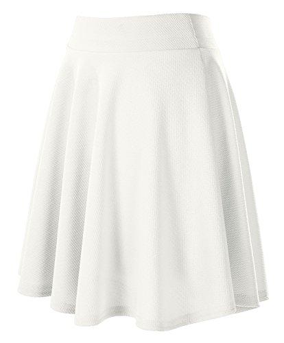 Jupe Plisse Elastique Femmes Fille Blanc Patineuse longue GoCo Court Basique Urban Jupe Midi Rtro pxAqtnR1