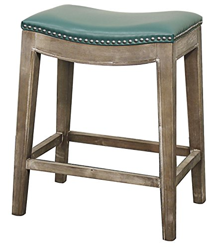 Elmo Bonded Leather Counter Stool,Distressed Gray Legs,Turquoise (Gray Leather Counter Stools)