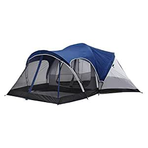 Greatland Blue/Black Two Room Dome Tent With Screen Porch For 8 People, Great Camping Tent