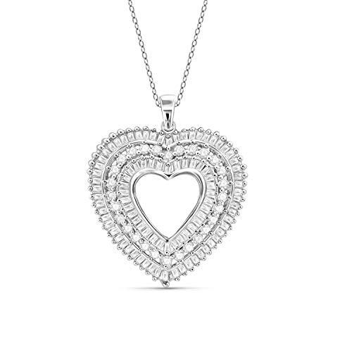 JewelExcess 1 Carat T.W. White Diamond Sterling Silver Heart Pendant