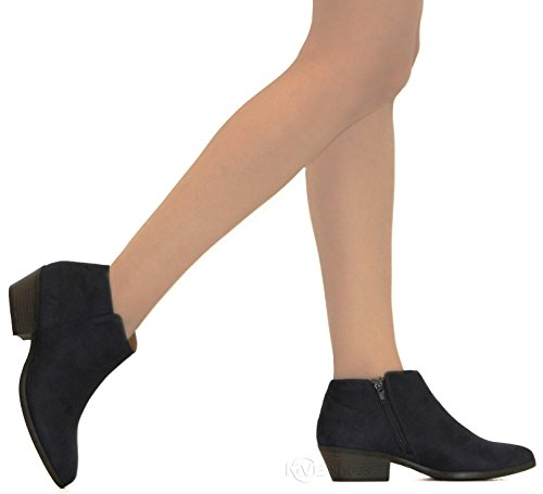 Bootie Navy Cute m Toe Heeled MVE Almond Bootie Ankle Shoes Low Deep Women's 1PYSXRc