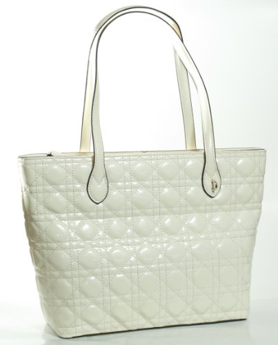 Designer Inspired Premium Quality Shiny Quilted Luxury Elegant Large Soft Tote Purse Satchel Shoulder Bag in White by Newbee