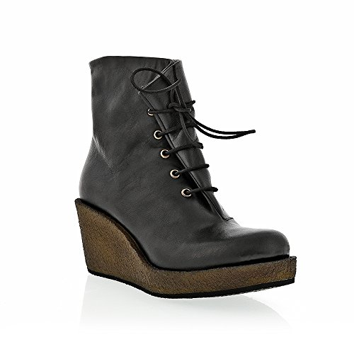8100 Melrose Black Lace Up Crepe Wedge Boot H9jBOC6