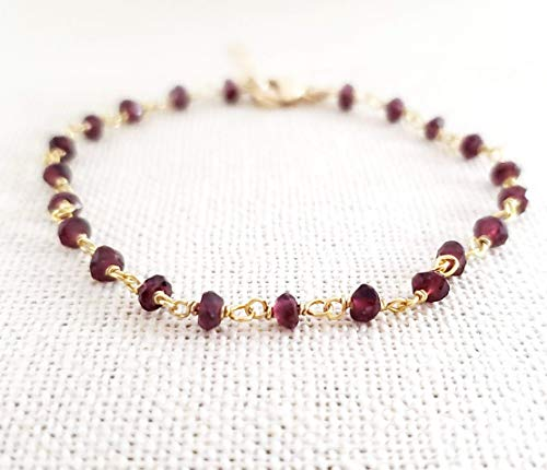 Garnet Bracelet - Gemstone Jewelry - Wire Wrapped Rosary Chain - 14k Gold Filled - Gift for Her
