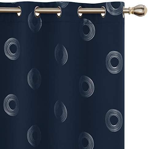 UMI by Amazon Tende Oscuranti Tessuto Argentate Isolamento Termico Moderne con Anelli per Camera da Letto 140x175cm Blu Navy 2 Pezzi