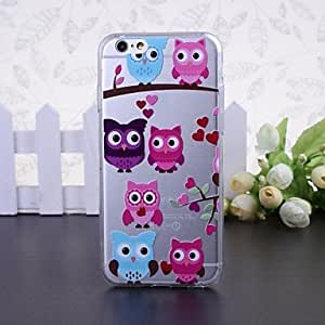 Cute Owl Pattern Transparent TPU Soft Case for iPhone 6 Protective Smartphone Shell