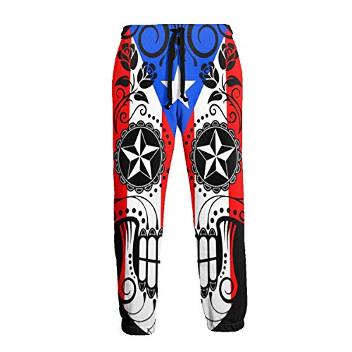 Men's Sweatpants Sugar Skull with Roses and Flag of Puerto Rico Joggers Pants with Pockets Slim Fit Casual Trousers with Drawstring