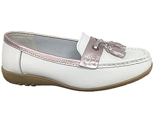 Foster Footwear - Ballet mujer blanco y rosa