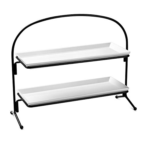 Sweese 3314 2 Tiered Serving Stand/Food Server Display Stand with Porcelain White Plates/Serving trays for Parties