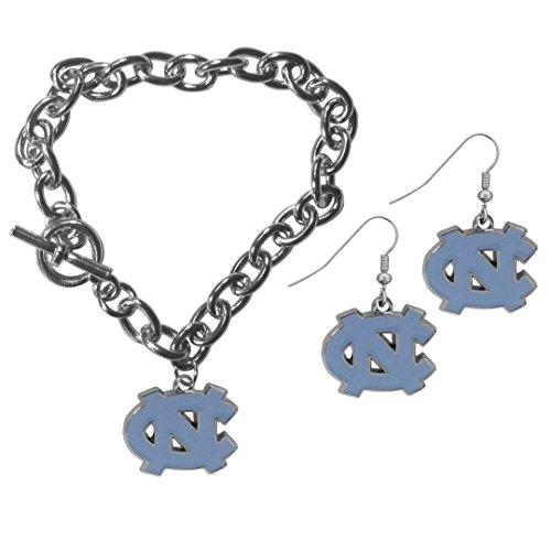 - Siskiyou NCAA North Carolina Tar Heels Chain Bracelet & Dangle Earring Set