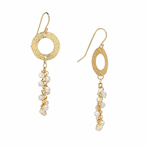 Texture Gold Ring/Circle Moonstone Cascade Chandelier Earrings, 14K Gold Filled - Moonstone Gold Chandelier Earrings