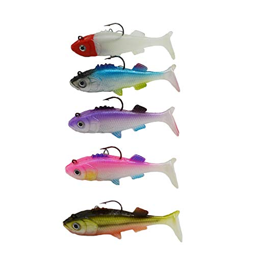 (WSHAREG Paddle Tail Swimbaits, Bass Soft Plastic Fishing Lures with Hooks for Saltwater and Freshwater, Lead Jigs Head Weighted with 3D Eyes, Shad Baits Rigged Tackle Kit Set (Pack of 5 per Lot) )